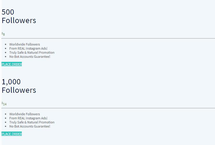 Una captura de pantalla que muestra el paquete de seguidores.