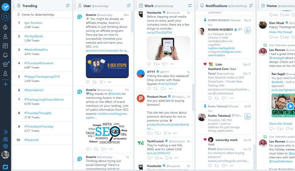 panel de tweetdeck, una herramienta de monitoreo de redes sociales
