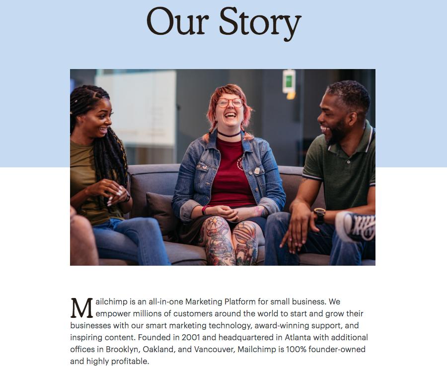 Página Acerca de MailChimp