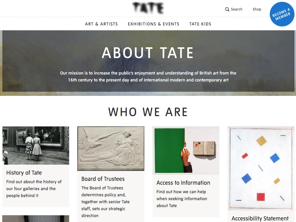 Página de Tate Acerca de nosotros