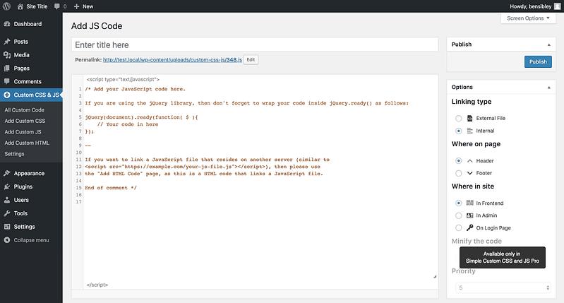 Nueva página de menú de código JS