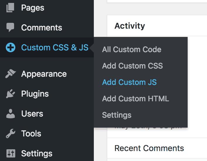 Menú CSS y JS personalizado