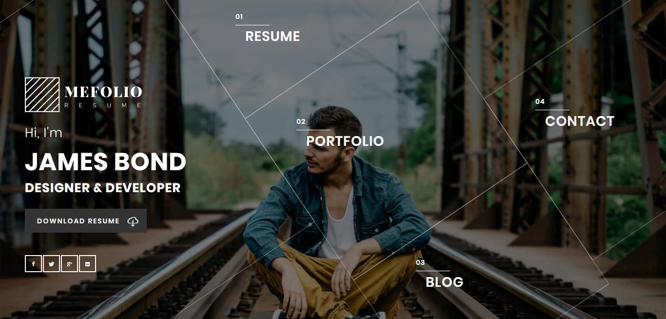 Mefolio - Mejor tema premium para currículum vitae de WordPress