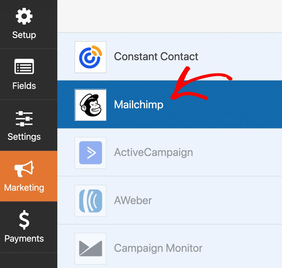Configuración de WPForms Mailchimp