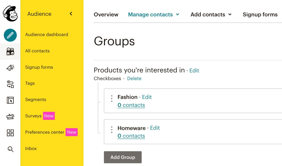 Grupos de Mailchimp en Mailchimp