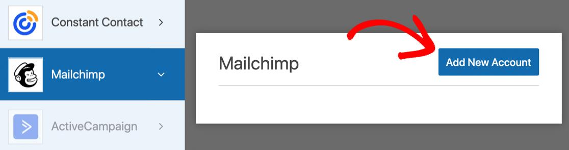 Agregar una nueva cuenta para Mailchimp en WPForms