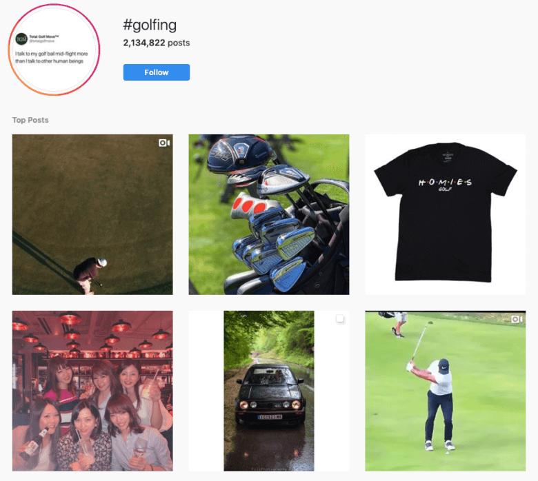 #Golfing Hashtag Captura de pantalla