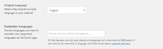 Opciones de idioma de Weglot