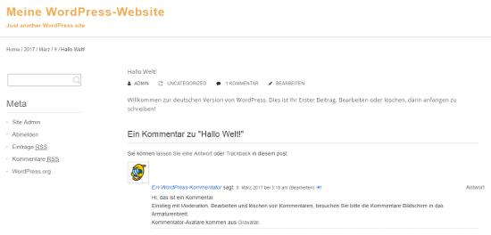 Sitio web de WordPress traducido