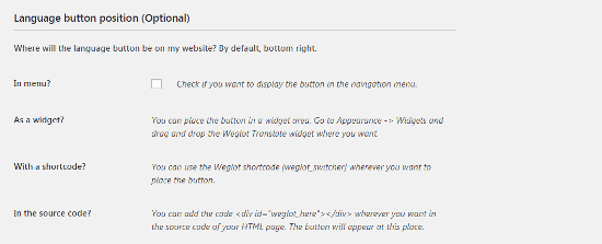 Posición del botón de idioma de Weglot