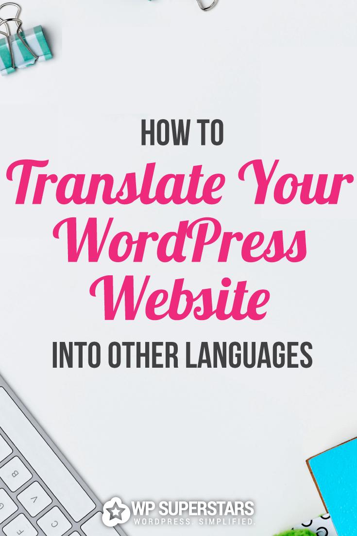 Cómo traducir su sitio web de WordPress
