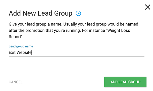 Agregar un nuevo grupo de clientes potenciales