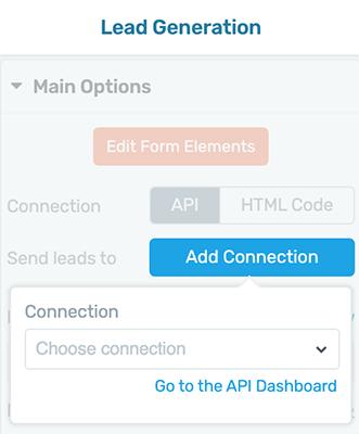 Generación de prospectos - Agregar conexión - Panel de API