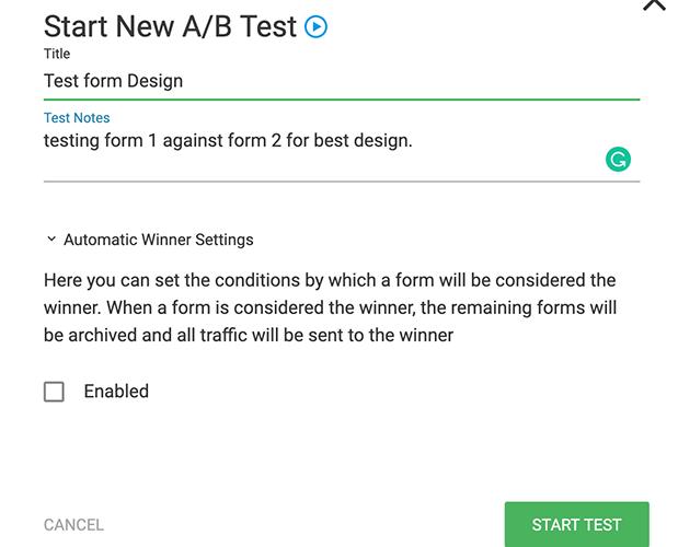 Iniciar una nueva prueba de ab