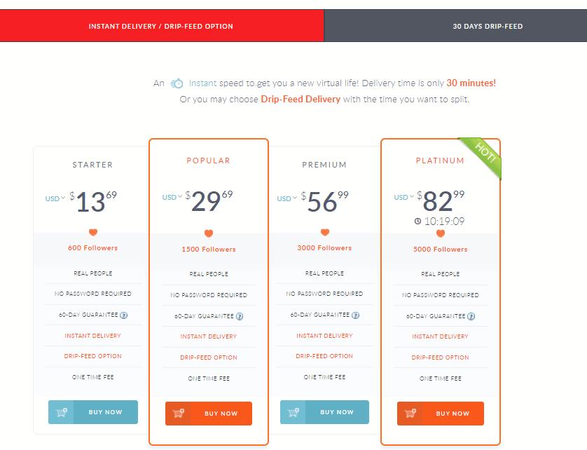 Una captura de pantalla que muestra los precios para los seguidores de Instagram.