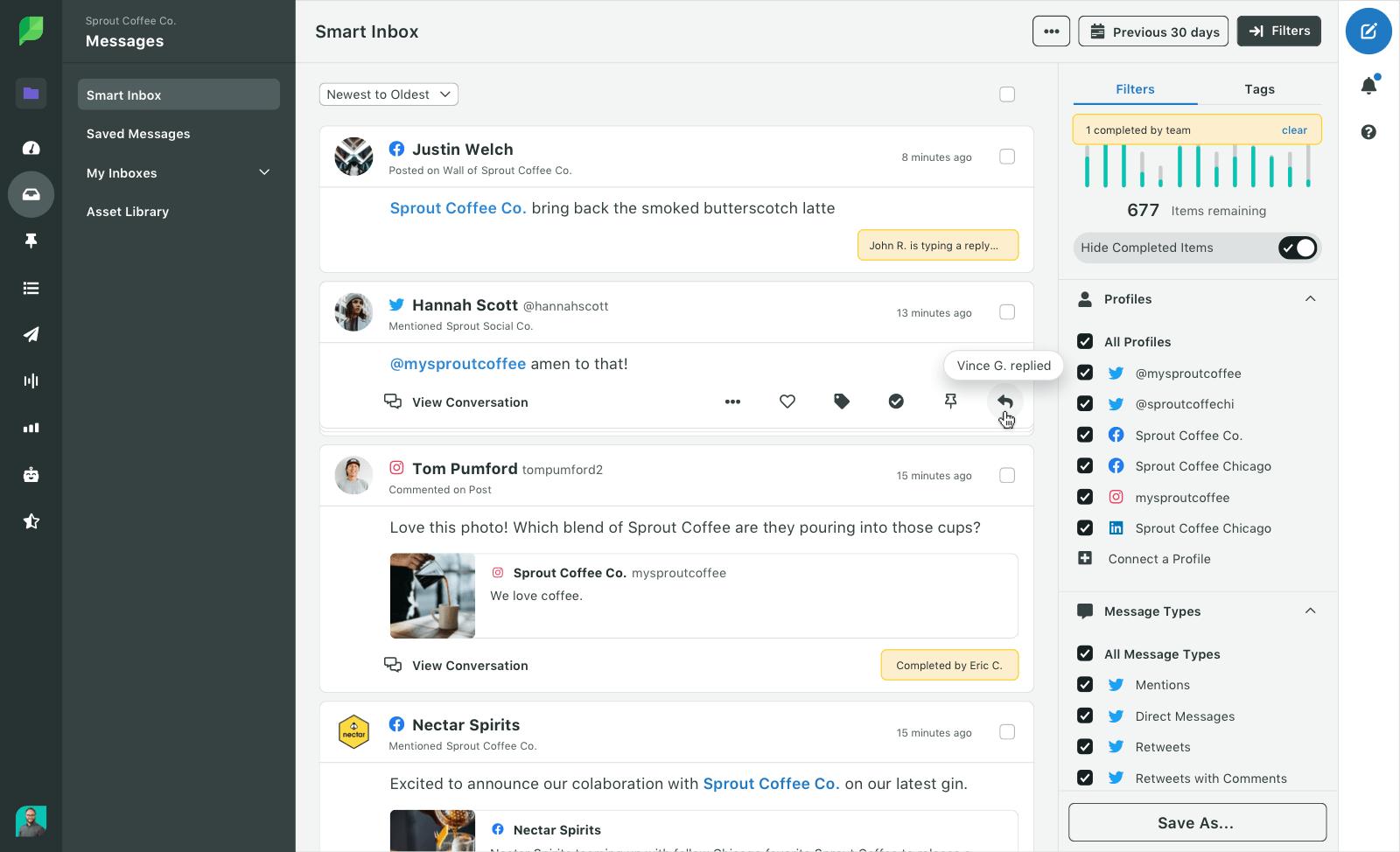 consolidar su presencia social en una plataforma a través de sprout es una forma inteligente de mejorar su tiempo de respuesta en las redes sociales