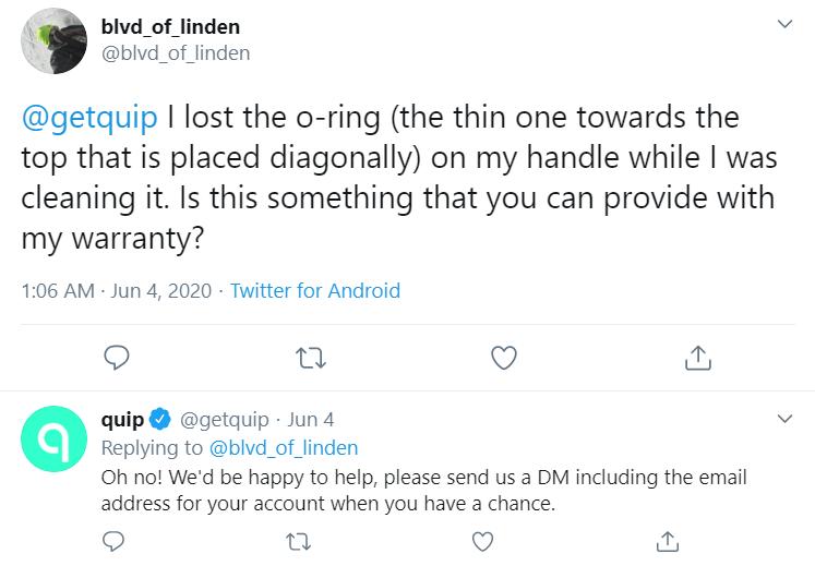 respuesta de twitter de getquip