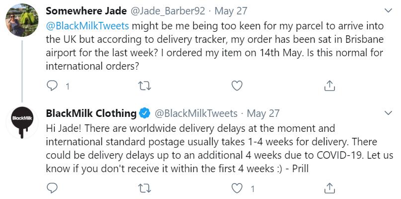 respuesta de twitter de leche negra