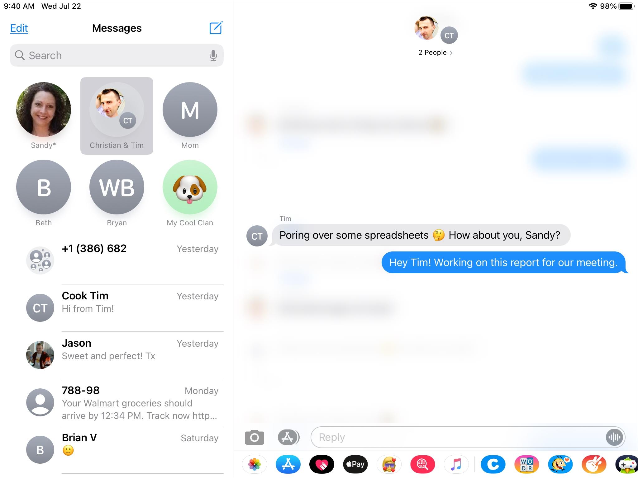 Tema de respuesta de mensaje integrado en iPad