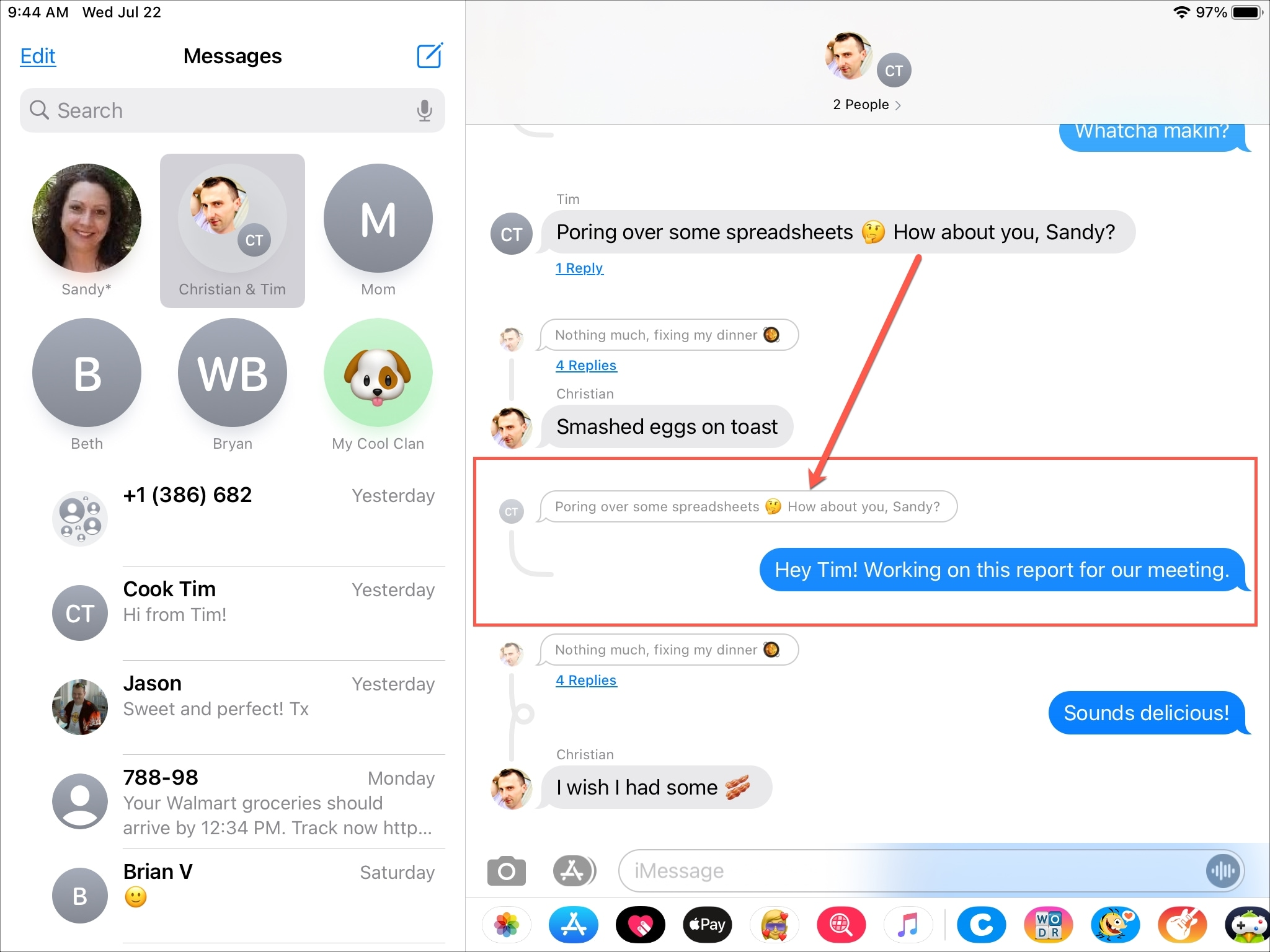 Vista de conversación de respuesta integrada de mensajes en iPad