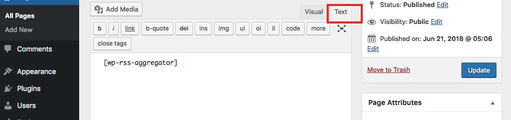 Código corto del agregador RSS de WP