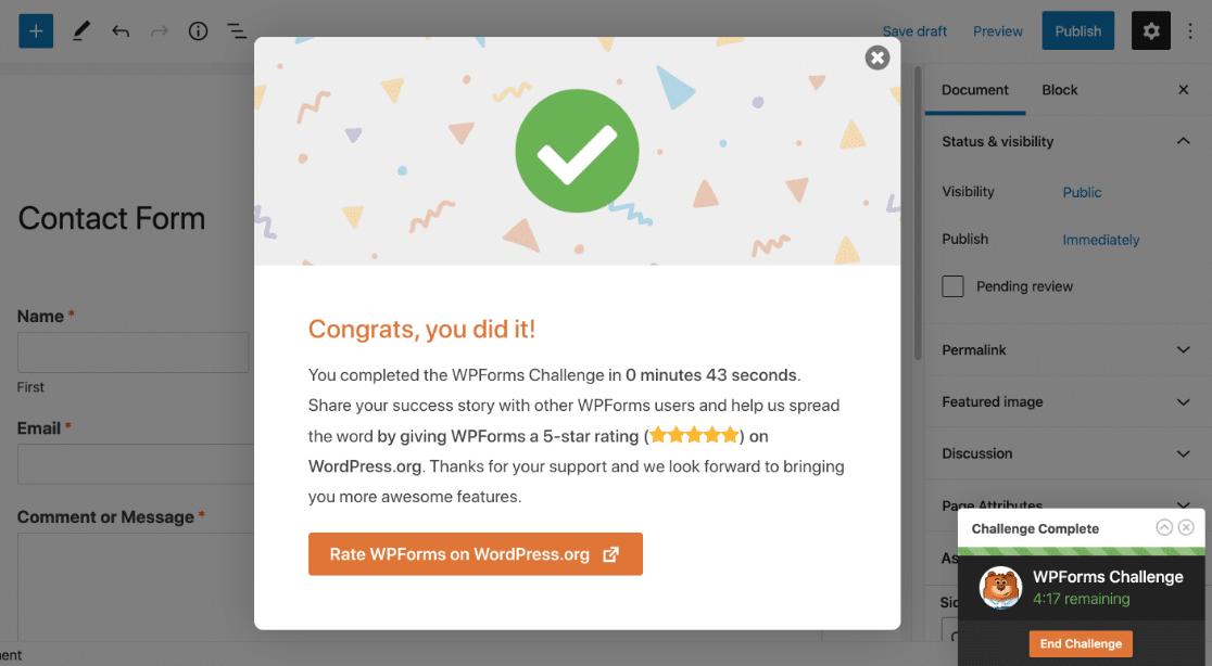 Termina el desafío de WPForms