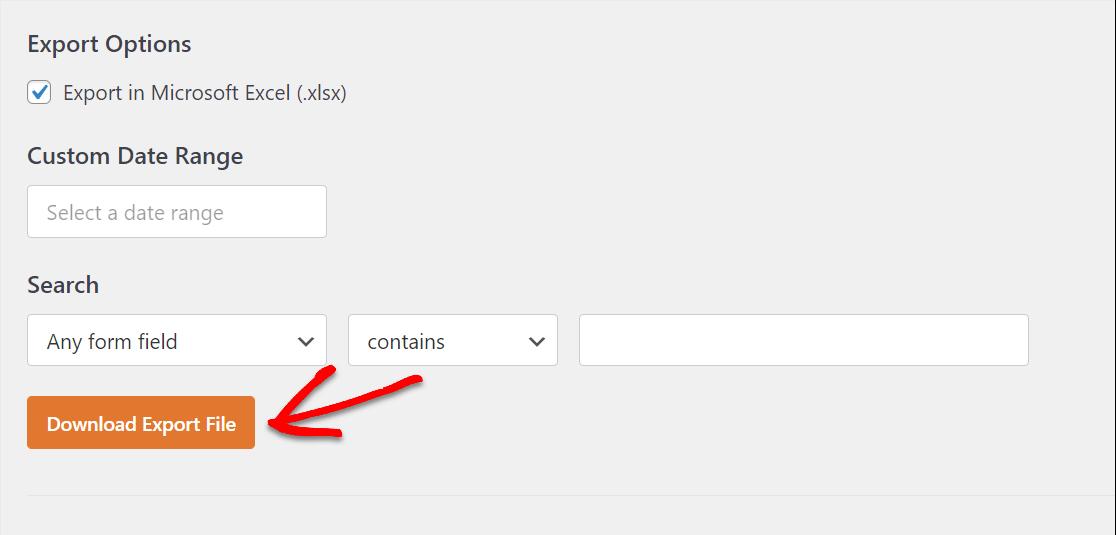 descargar el archivo de exportación para excel desde el formulario de wordpress
