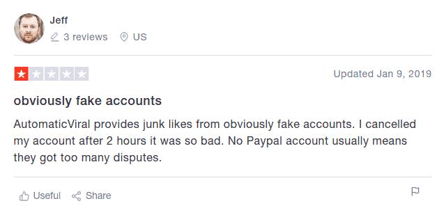 Una imagen de otro comentario negativo sobre el servicio de Automatic Viral en Trustpilot.
