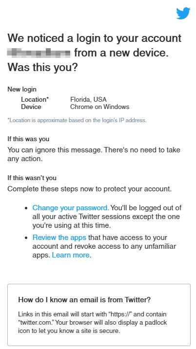 posible notificación de cuenta de twitter pirateada