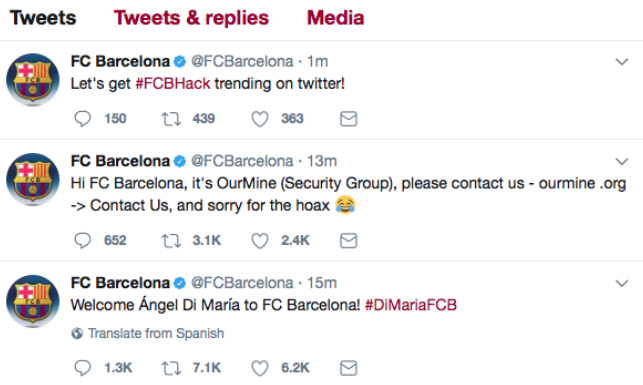 FC Barcelona pirateado Twitter cuenta