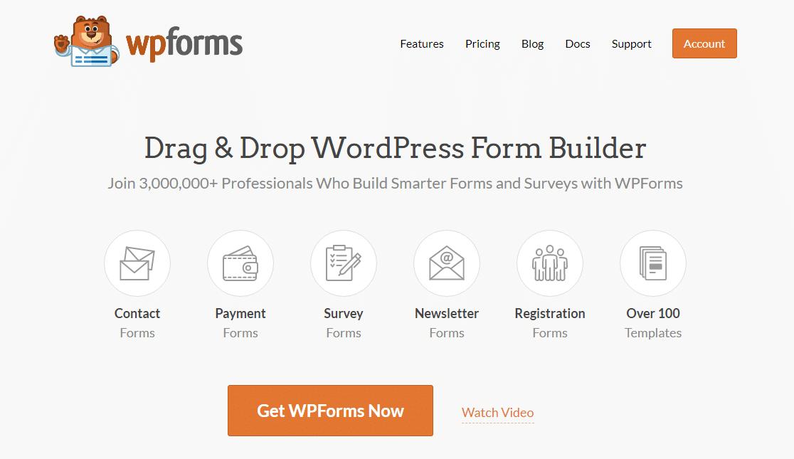 página de inicio de wpforms