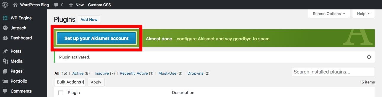 Configurar cuenta de Akismet