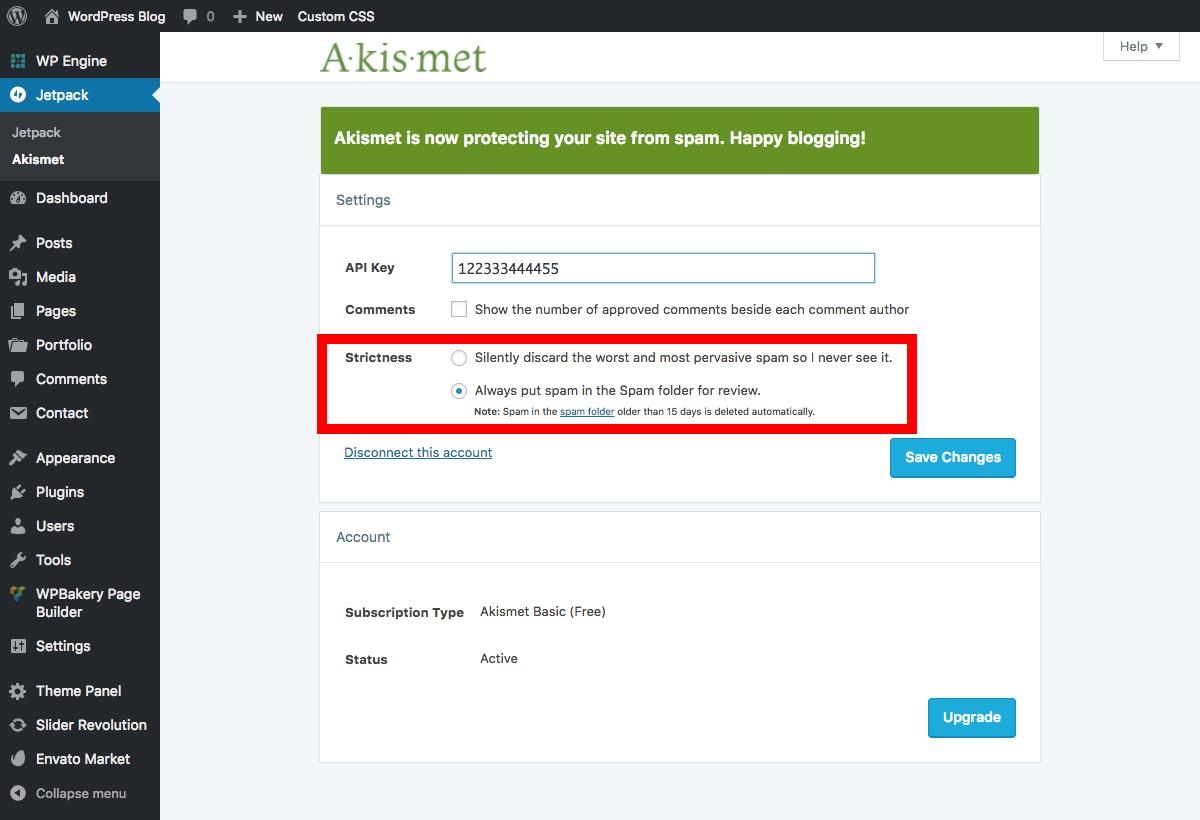 Filtrado de spam de Akismet