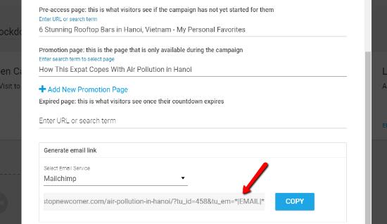 Generar enlace de correo electrónico