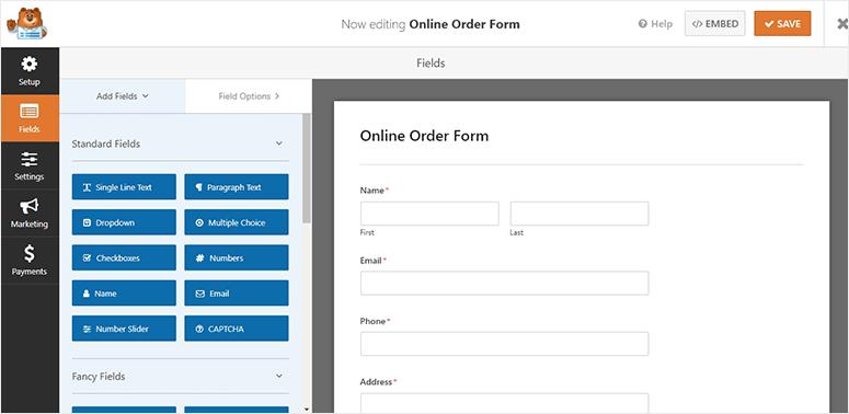 Vista previa del formulario de pedido