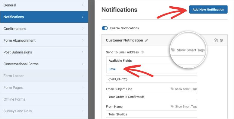 notificación para el cliente en wpforms
