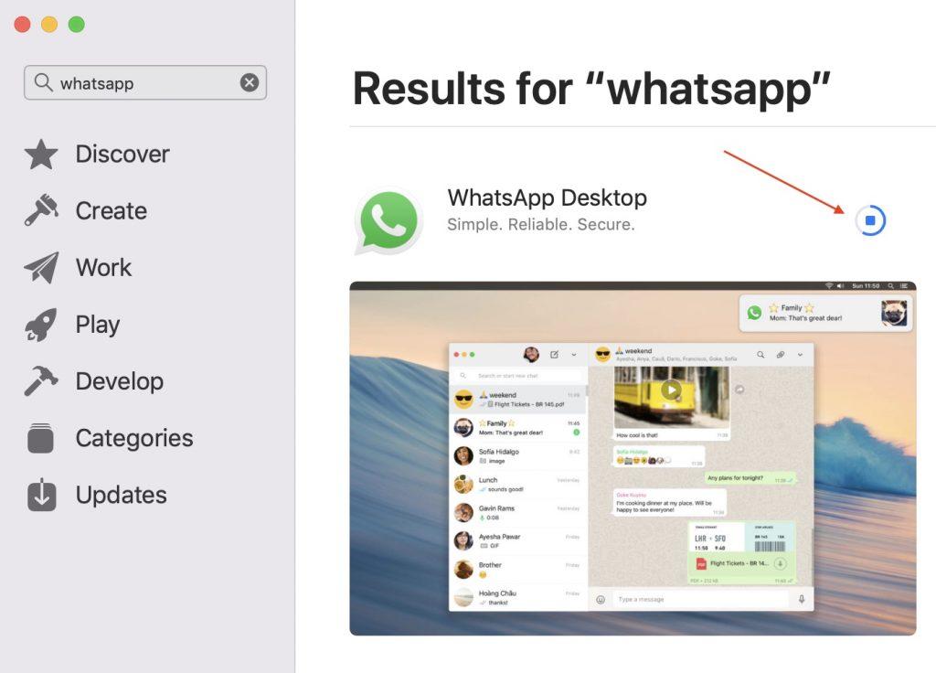 Progreso de descarga de escritorio de WhatsApp
