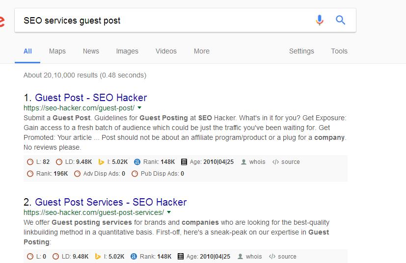 Servicios de SEO post invitado búsqueda de Google