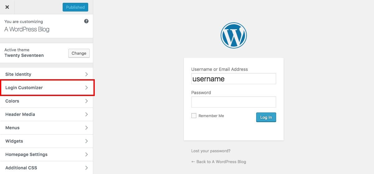 Personalizador en vivo de la página de inicio de sesión personalizada