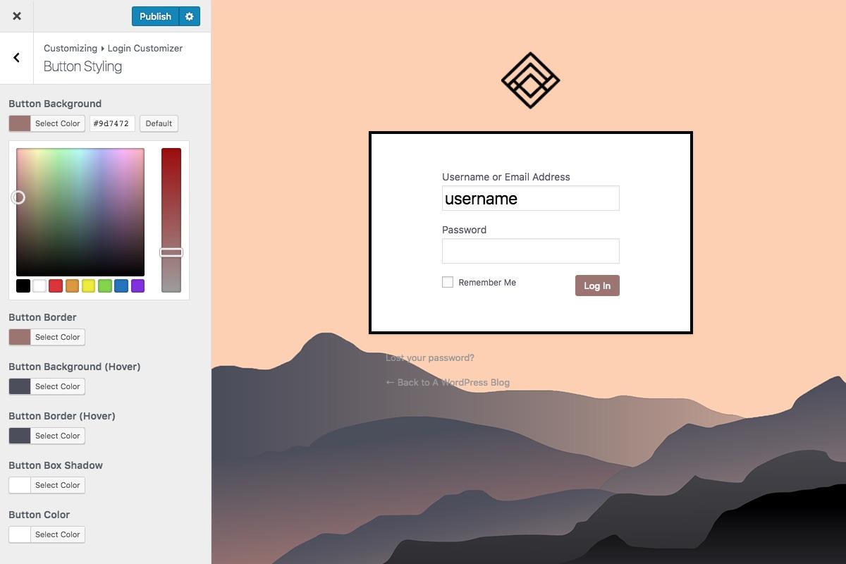 Estilo del personalizador en vivo de la página de inicio de sesión personalizada