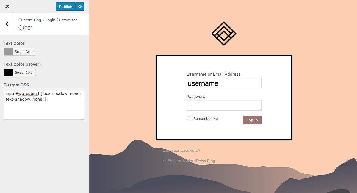 Página de inicio de sesión personalizada Live Customizer CSS