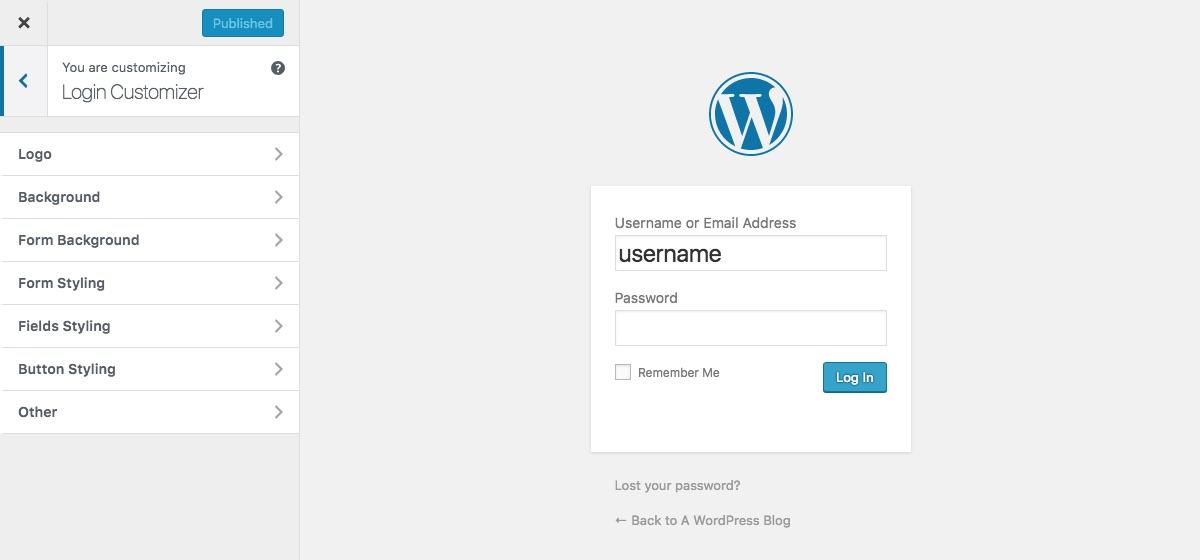Opciones de personalización en vivo de la página de inicio de sesión personalizada