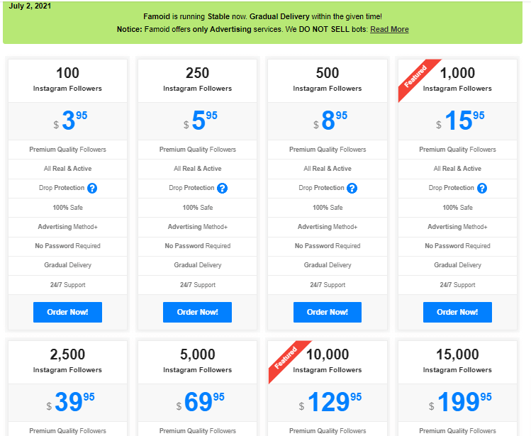 Una captura de pantalla que muestra los precios de los seguidores.