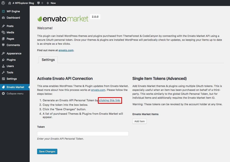 Configuración principal del complemento Envato Market