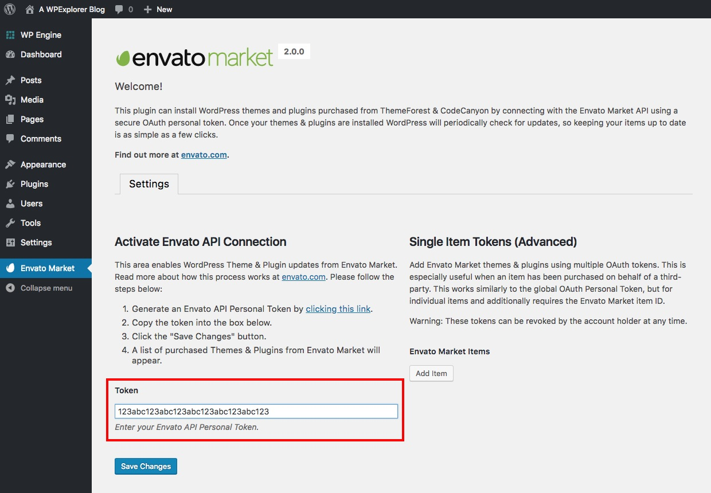 Pega tu token de API de Envato