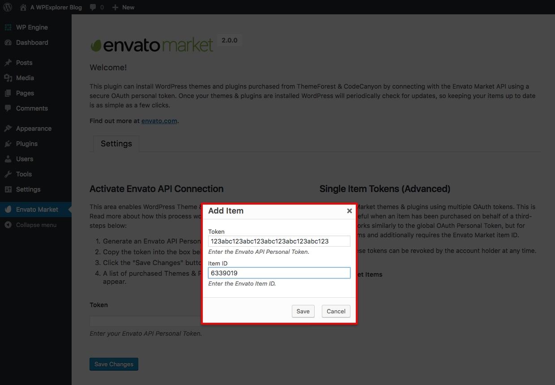 Autorizar artículo de Envato con Token