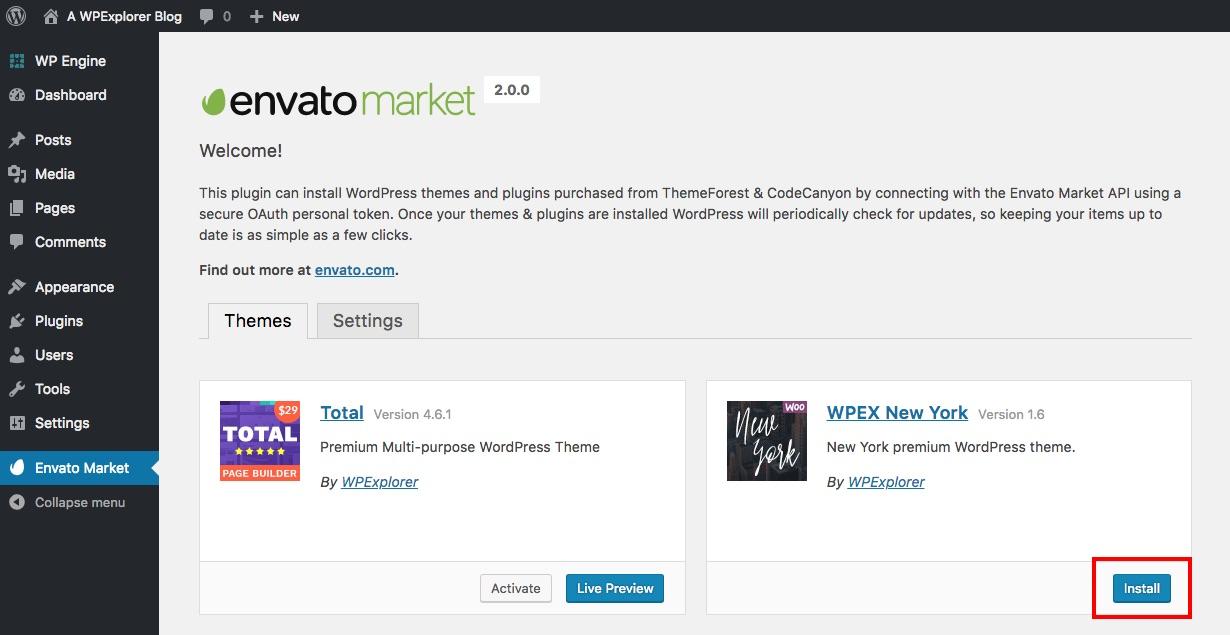 Instalar un nuevo tema con Envato Market