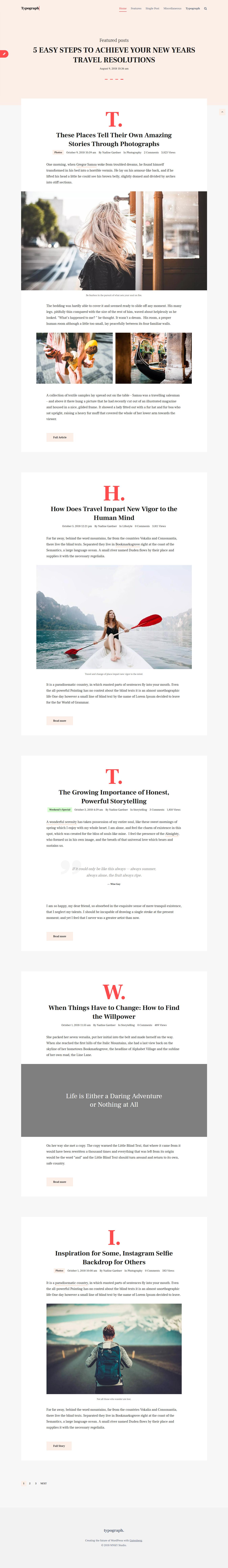 Blog impulsado por la tipografía