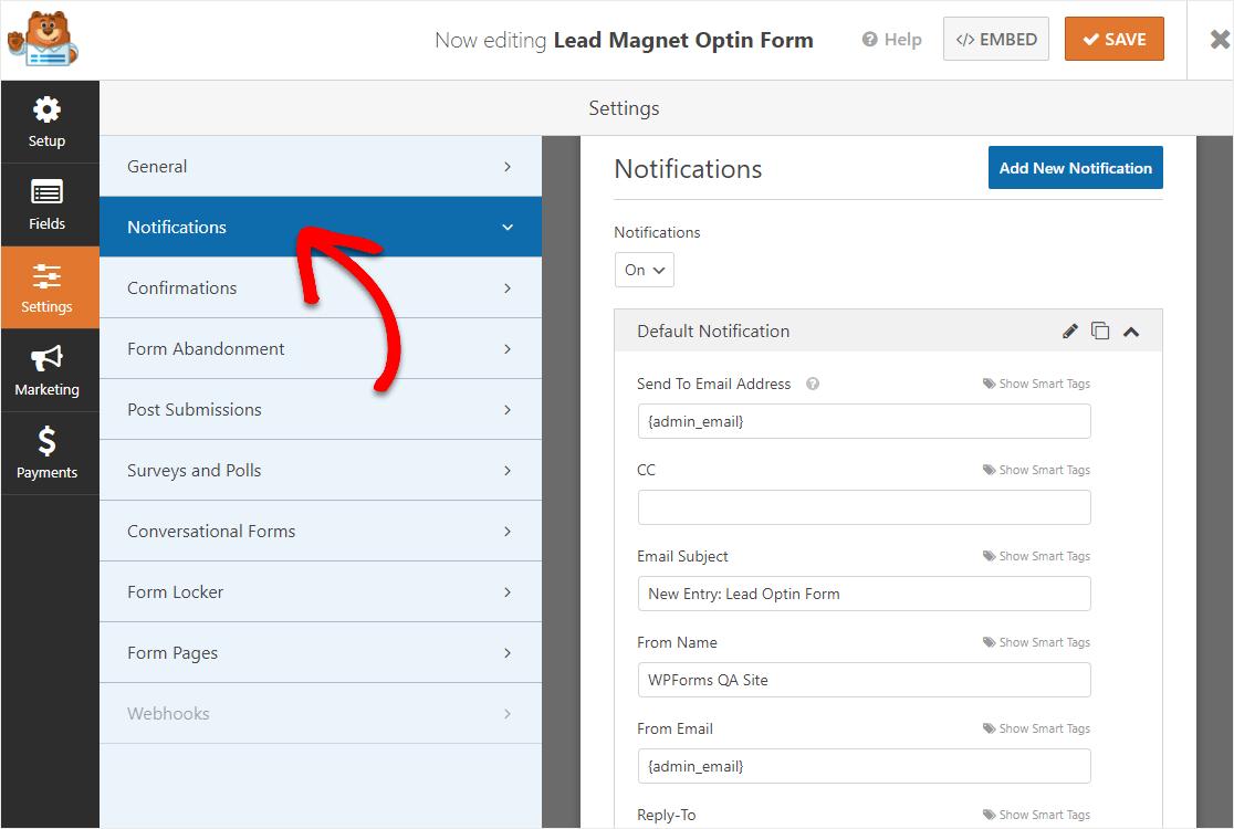 notificaciones de formulario de suscripción de lead magnet