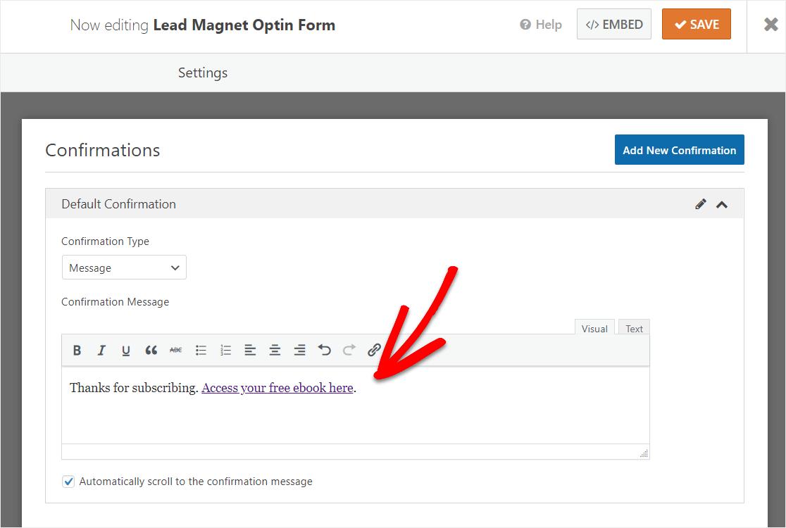 formulario de mensaje de confirmación de lead magnet gratis